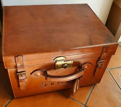 Vintage Beautiful Large Rare Square Thick Leather Suitcase A1 Collector Quality.