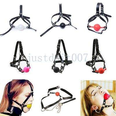 PU Leather Straps Open Mouth Gag Bondage Restraint Head Harness Hood Mask BDSM