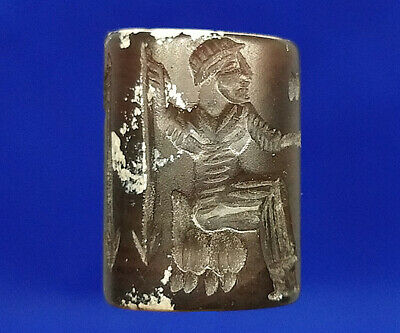 Near Eastern Agate Intaglio Warrior Spear Ritual Rolling Stamp Tube Bead  BCB95
