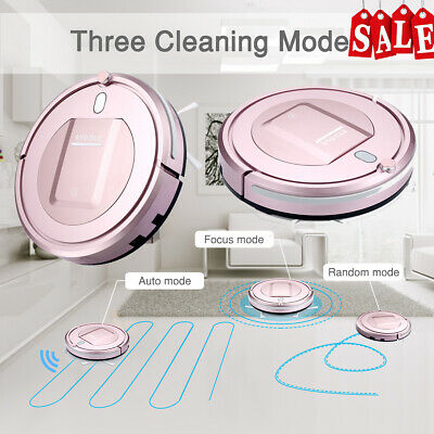 Eyugle Staubsauger Vacuum Robot Cleaner 7.6cm Height 500pa Suction 3 Mode Rosa