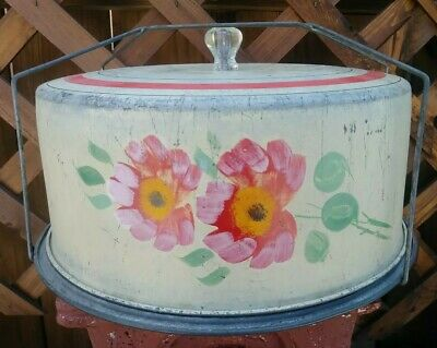 Vtg/Atq Handpainted Metal Cake / Pie Carrier Holder Saver Flowers & Crystal Knob