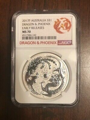 2017-P Aus. 1 oz Silver Dragon & Phoenix NGC MS70 Early Release Special Label