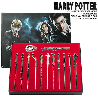 11pcs Harry Potter Magic Stick Wands Key Ring Hermione Malfoy Box Halloween Gift