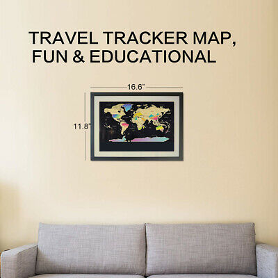 Travel Tracker Big Scratch Off World Map Poster Personalized Journal Log