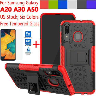 For Samsung Galaxy A20 A30 A50 Case Shockproof Armor Rugged Cover+Tempered Glass