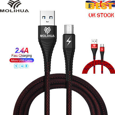 Fast Charge Braided 2.4A Micro USB Sync Cable Charger For Samsung Sony Android