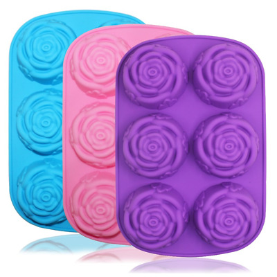 Large Rose Flower Silicone Tray for Cake Bread Pudding Chocolate Muffin Soap, 3D