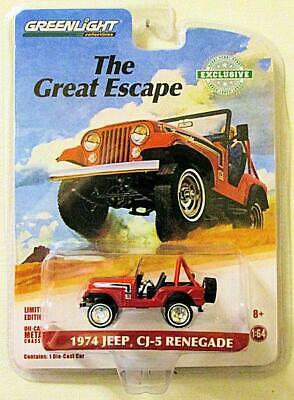 GREENLIGHT 29936 1974 JEEP CJ 5 RENEGADE 1:64 DIECAST CAR THE GREAT ESCAPE RED