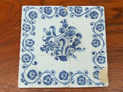 18th CENTURY ENGLISH LIVERPOOL DELFT POTTERY TILE TIN GLAZE FLORAL FLOWER DESIGN
