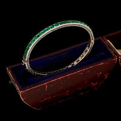 Antique Vintage Deco Sterling Silver Emerald Rhinestone Hinged Bangle Bracelet