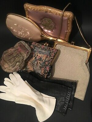 Bulk Lot Of Vintage Lady Vanity Items Gloves Handbags Chocolate Box Hand Mirror