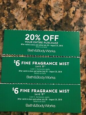 3 Bath and & Body Works Coupons 20% OFF and TWO $6 Fragrance Mist Exp. 8/25