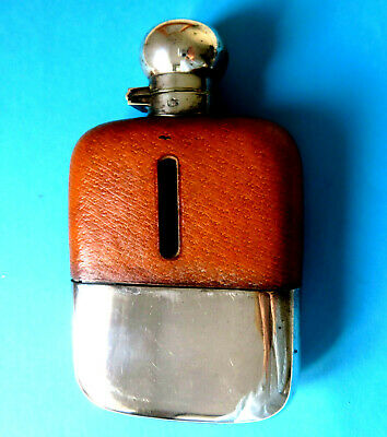 Antique Quality Pigskin Leather Covered Glass & Silverplate  Hip Flask,