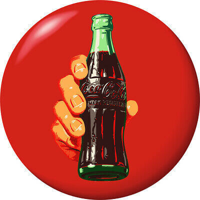 Coca-Cola Bottle in Hand Red Disc Decal 24 x 24 Removable Decor Graphic