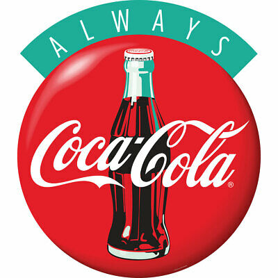 Always Coca-Cola Bottle 1990s Style Red Disc Decal 21 x 24 Coke Kitchen Decor