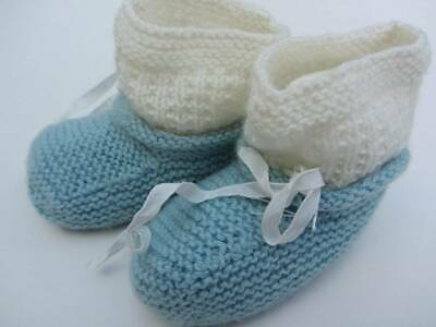 vintage 30's 40's blue hand knit booties baby