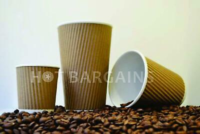 100 x Premium Disposable Coffee Cups 12oz With Or Without Lids Kraft Paper Cups