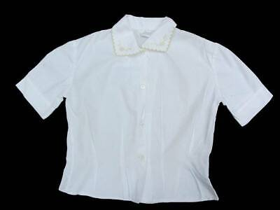 vintage blouse girls age 8-9 white embroidery 50's traditional