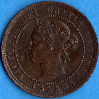 Canada 1900 H 1 Cent One Large Cent Coin - EF/AU