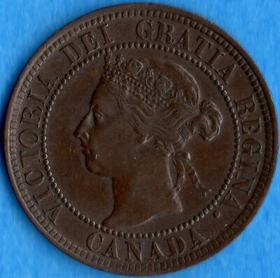Canada 1901 1 Cent One Large Cent Coin - EF/AU