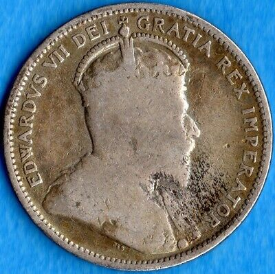 Canada 1903 25 Cents Twenty Five Cent Silver Coin - Cleaned