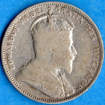 Canada 1910 25 Cents Twenty Five Cent Silver Coin - Cleaned