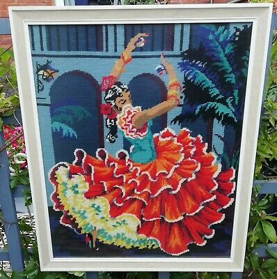 Vintage Retro Kitsch Flamenco Dancer Tango Needlepoint Tapestry Framed & Glazed