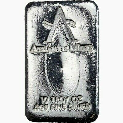 Atlantis Mint Old Loaf Style Silver 10 oz .999 Fine Hand Poured Bar IRA Eligible