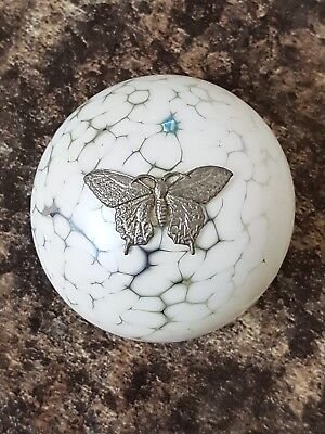 Vintage Signed Heron Glass Paperweight Butterfly On White Iridescent Glass