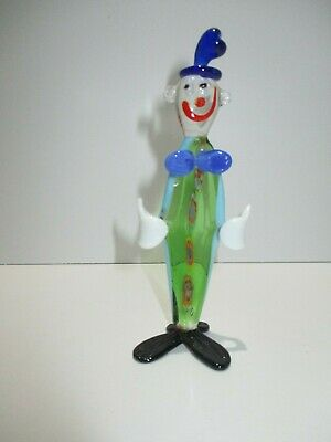 Vintage Hand Blown Glass Clown Figurine miniature multi color