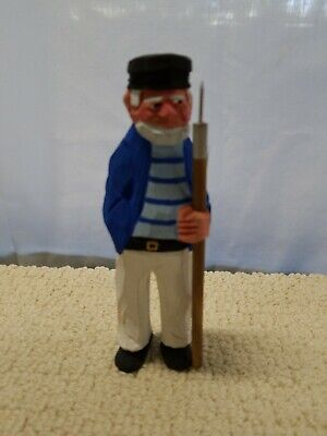 VTG WOOD WOODEN HAND CARVED SAILOR FISHERMAN w/Harpoon STATUE SCULPTURE OLD MAN