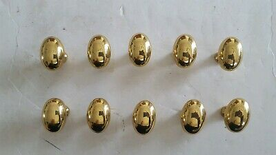 Vintage Solid Brass Egg Shaped Drawer Cabinet Knob Set of 10