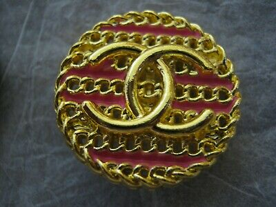 CHANEL 1 BUTTON GOLD PINK 20 mm , LESS THAN1 inch metal with  cc logo
