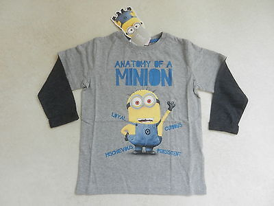 BNWT Next Boys Minion Grey Long Sleeved Top Age 5 Years Despicable Me