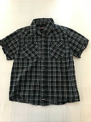 Dickies Boys Large 10-12 Snap Front Black Plaid Cotton Short Sleeve Shirt Ts9