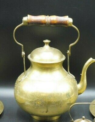 Large Vintage Brass Kettle - Intricate Design - with Wood Handle