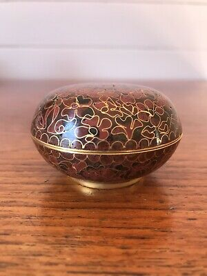 Vintage Chinese Cloisonne Lidded Round Trinket Dish