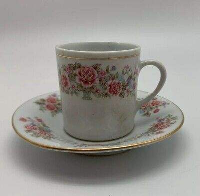 6 New Small Porcelain Tea cup and saucer with pink and blue Flower made in China
