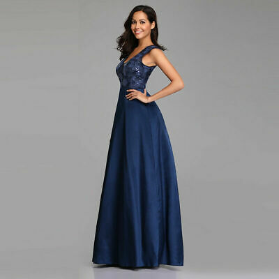 Ever-Pretty US Long Formal Gowns Cocktail Wedding Party Evening Dress Navy 07731