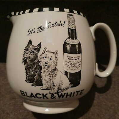 Rare Vintage 1920's Black and White Scotch Whisky Ceramic Water Jug by Shelly