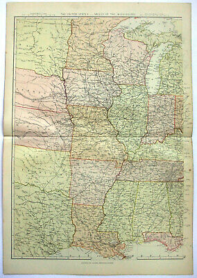 Original 1882 Map of the Mississippi Valley by Blackie & Son. Antique. USA