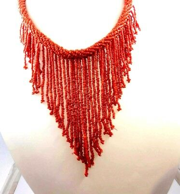 Vintage Style Boho Treated Coral Beads Thread Necklaces Jewelry W14 (6)