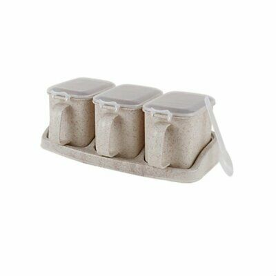 Seasoning Box,Storage Container Condiment Jars ,Cruet with Cover and Spoon VR