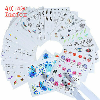 30-55PCS Nail Art Water Transfers Spring Water Effect Flowers Decal Stickers Lot