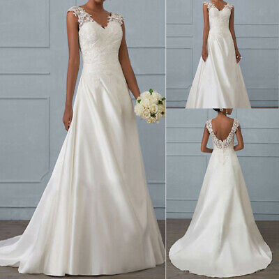 Formal Lace Wedding Dresses Evening Party Ball Gown Long Bridal Bridesmaid Dress