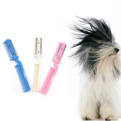 Pet Hair Trimmer Comb 2 Razor Rakes Cutting Grooming Clean Tool for Dog Cat Best