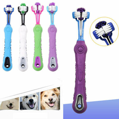 Three Sided Pet Cleaning Brush Useful Dog Cat Teeth Brush Care Cleaning Tool NEW