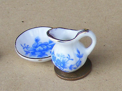 1:12 Scale Victorian Jug & Wash Bowl Set Dolls House Blue Floral Motif  B100