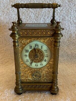 Antique 1860-1870 French Carriage Clock, Gold Gilded, Needs Repair
