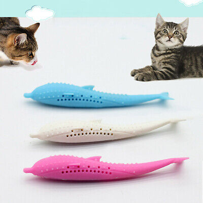 Pets Cat Fish Shape Toothbrush Silicone Molar Stick Teeth Cleaning Toy Cats Gift